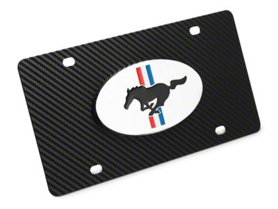 Ford License Plate w/ Carbon Fiber Wrap - Tri-Bar & Running Pony (79-19 All)