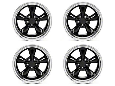 Staggered Bullitt Black 4 Wheel Kit - 17x9/10.5 (94-04 All)