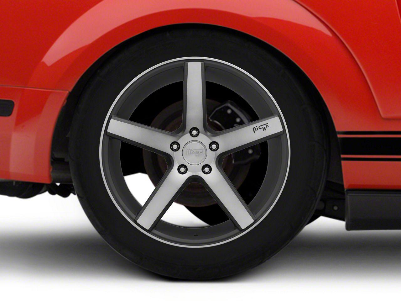 Niche Milan Black Machined Wheel - 19x9.5 (05-14 All; 15-19 GT, EcoBoost, V6)