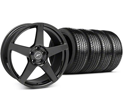 Forgestar CF5 Piano Black Wheel & Pirelli P-Zero Nero Tire Kit - 19x9.5 (15-19 GT, EcoBoost, V6)