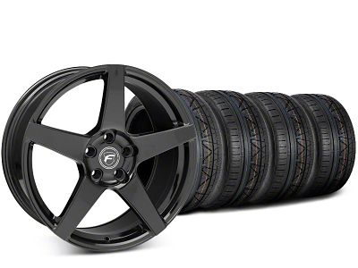 Forgestar CF5 Piano Black Wheel & NITTO INVO Tire Kit - 20x9.5 (15-19 GT, EcoBoost, V6)