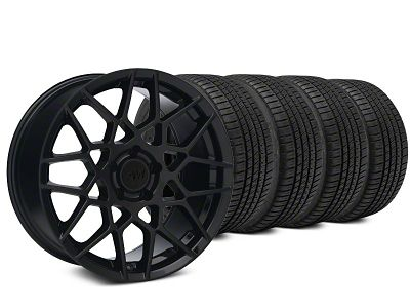 2013 GT500 Style Gloss Black Wheel & Michelin Pilot Sport A/S 3+ Tire Kit - 19x8.5 (15-19 GT, EcoBoost, V6)