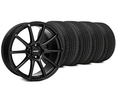 Staggered MMD Axim Black Wheel & Michelin Pilot Sport A/S 3+ Tire Kit - 20x8.5/10 (15-19 All)