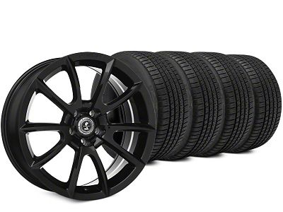 Staggered Super Snake Style Black Wheel & Michelin Pilot Sport A/S 3+ Tire Kit - 19x8.5/10 (15-19 All)