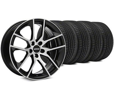 Staggered Magnetic Style Black Machined Wheel & Michelin Pilot Sport A/S 3+ Tire Kit - 19x8.5/10 (15-19 GT, EcoBoost, V6)