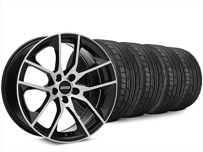 Staggered Magnetic Style Black Machined Wheel & NITTO NT555 G2 Tire Kit - 20x8.5/10 (15-19 GT, EcoBoost, V6)