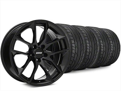 Staggered Magnetic Style Black Wheel & NITTO NT555 G2 Tire Kit - 20x8.5/10 (15-19 GT, EcoBoost, V6)