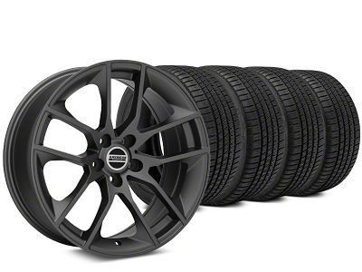 Staggered Magnetic Style Charcoal Wheel & Michelin Pilot Sport A/S 3+ Tire Kit - 20x8.5/10 (15-19 GT, EcoBoost, V6)