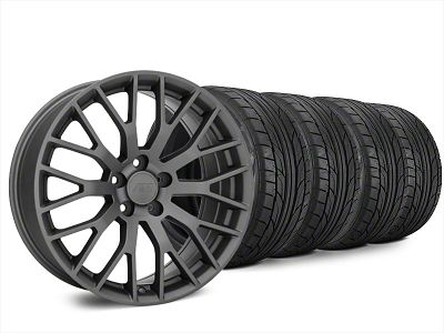 Staggered Performance Pack Style Charcoal Wheel & NITTO NT555 G2 Tire Kit - 20x8.5/10 (15-19 GT, EcoBoost, V6)