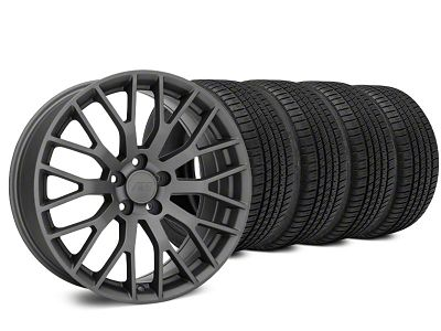 Staggered Performance Pack Style Charcoal Wheel & Michelin Pilot Sport A/S 3+ Tire Kit - 20x8.5/10 (15-19 GT, EcoBoost, V6)