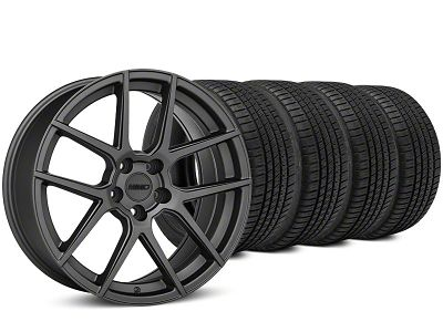 Staggered MMD Zeven Charcoal Wheel & Michelin Pilot Sport A/S 3+ Tire Kit - 19x8.5/10 (15-19 All)