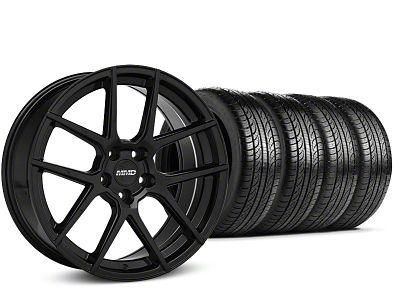 MMD Staggered Zeven Black Wheel & Pirelli P-Zero Nero Tire Kit - 19x8.5/10 (15-19 GT, EcoBoost, V6)