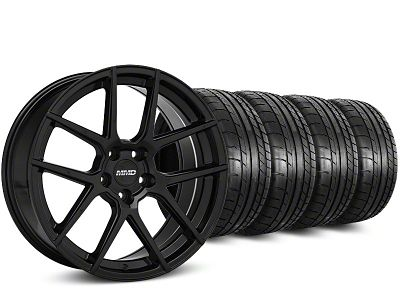 MMD Staggered Zeven Black Wheel & Mickey Thompson Street Comp Tire Kit - 19x8.5/10 (15-19 GT, EcoBoost, V6)