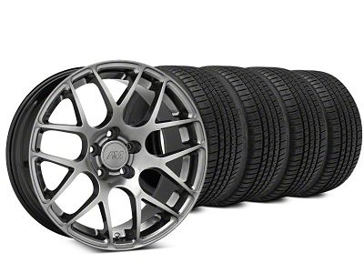 Staggered AMR Dark Stainless Wheel & Michelin Pilot Sport A/S 3+ Tire Kit - 19x8.5/10 (15-19 GT, EcoBoost, V6)