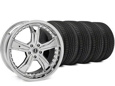 Staggered Shelby Razor Chrome Wheel & Michelin Pilot Sport A/S 3+ Tire Kit - 20x9/10 (15-19 All)