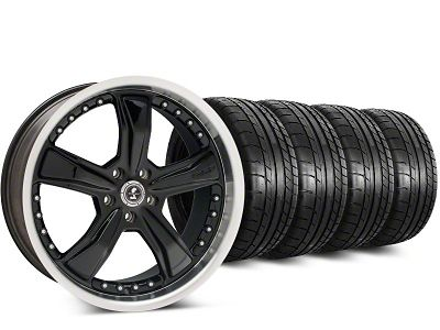 Staggered Shelby Razor Black Wheel & Mickey Thompson Street Comp Tire Kit - 20 in. - 2 Rear Options (15-19 All)