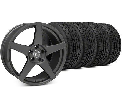 Staggered Forgestar CF5 Matte Black Wheel & Michelin Pilot Sport A/S 3+ Tire Kit - 19x9/10 (15-19 All)