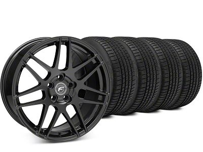 Staggered Forgestar F14 Piano Black Wheel & Michelin Pilot Sport A/S 3+ Tire Kit - 19x9/10 (15-19 All)