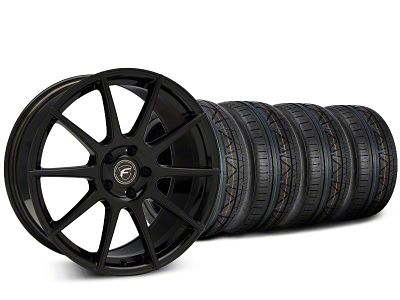Staggered Forgestar CF10 Piano Black Wheel & NITTO INVO Tire Kit - 19x9 (15-19 GT, EcoBoost, V6)