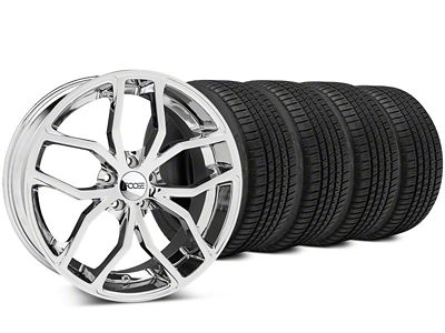 Staggered Foose Outcast Chrome Wheel & Michelin Pilot Sport A/S 3+ Tire Kit - 20x8.5/10 (15-19 All)