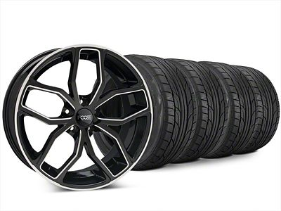 Staggered Foose Outcast Black Machined Wheel & NITTO NT555 G2 Tire Kit - 20x8.5/10 (15-19 All)