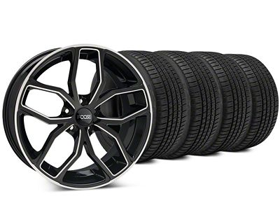 Staggered Foose Outcast Black Machined Wheel & Michelin Pilot Sport A/S 3+ Tire Kit - 20x8.5/10 (15-19 All)