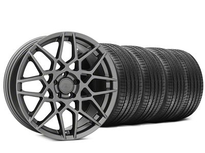 Staggered 2013 GT500 Style Charcoal Wheel & Sumitomo HTR Z III Tire Kit - 20x8.5 (15-19 GT, EcoBoost, V6)