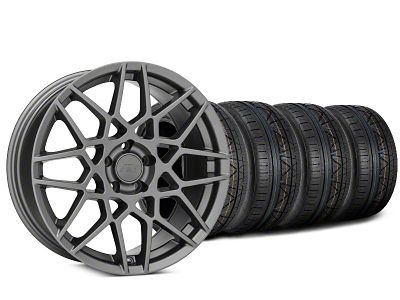 Staggered 2013 GT500 Style Charcoal Wheel & NITTO INVO Tire Kit - 20x8.5 (15-19 GT, EcoBoost, V6)