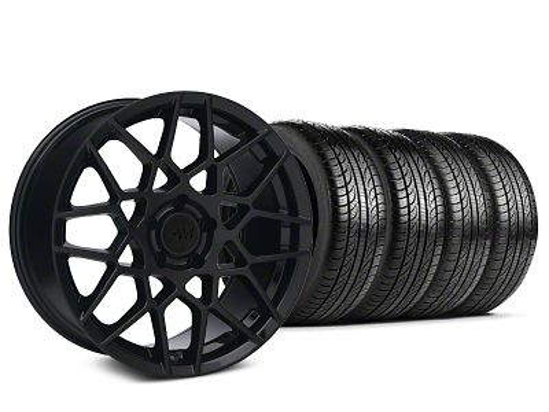 Staggered 2013 GT500 Style Gloss Black Wheel & Pirelli P-Zero Nero Tire Kit - 19x8.5 (15-19 GT, EcoBoost, V6)