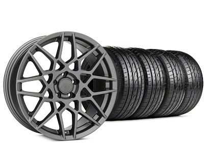 Staggered 2013 GT500 Style Charcoal Wheel & Sumitomo HTR Z III Tire Kit - 19x8.5 (15-19 GT, EcoBoost, V6)