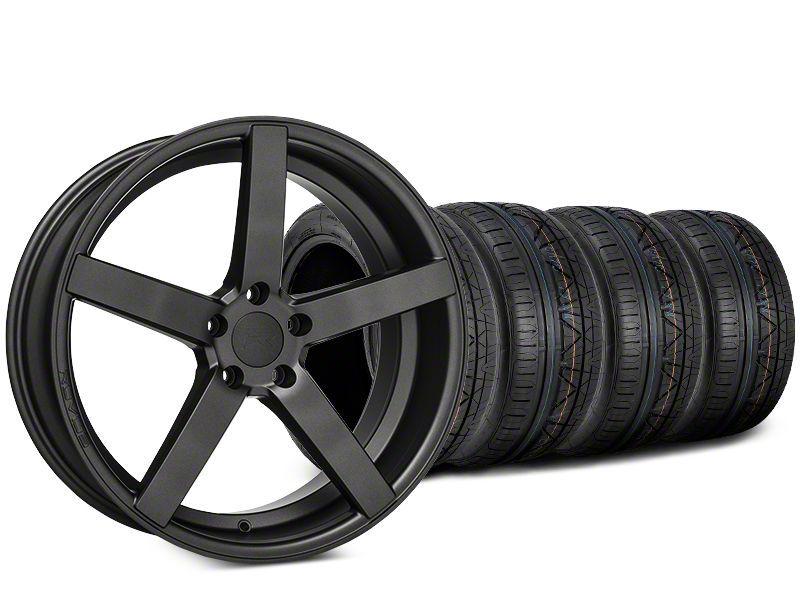 Staggered Rovos Durban Satin Gunmetal & NITTO INVO Tire Kit - 20x8.5 (15-19 GT, EcoBoost, V6)