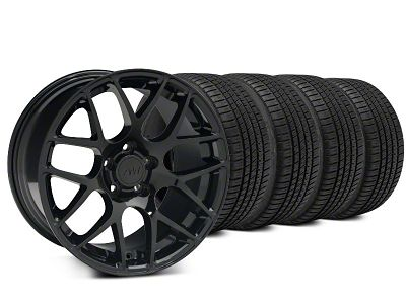 Staggered AMR Black Wheel & Michelin Pilot Sport A/S 3+ Tire Kit - 20x8.5/10 (15-19 GT, EcoBoost, V6)