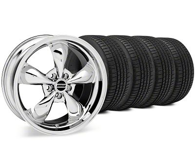 Staggered Bullitt Chrome Wheel & Michelin Pilot Sport A/S 3+ Tire Kit - 20x8.5/10 (15-19 EcoBoost, V6)