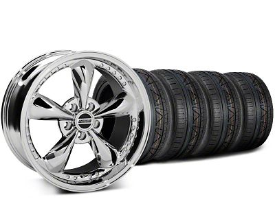 Staggered Bullitt Motorsport Chrome Wheel & NITTO INVO Tire Kit - 18x9 (15-19 GT, EcoBoost, V6)