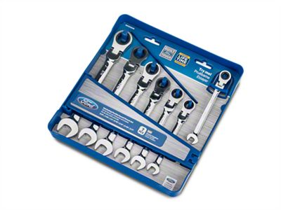 Ford Flexible 7 Piece Geared Fractional Wrench Set w/ Storage Tray