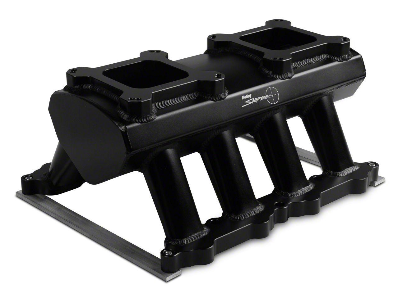 Sniper Hi-Ram Single Plane Dual Quad Carbureted Fabricated Intake Manifold - Black (11-14 GT)