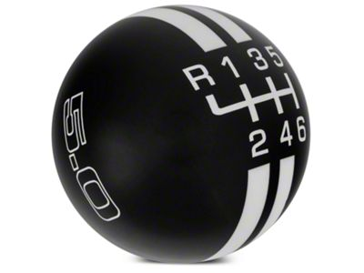 Modern Billet Rally Stripe 6-Speed Shift Knob w/ 5.0 Logo - Black/White (15-19 GT, EcoBoost, V6)