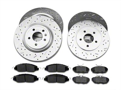 Xtreme Stop Precision Cross Drilled & Slotted Rotor w/ Ceramic Brake Pad Kit - Front & Rear (11-14 GT)