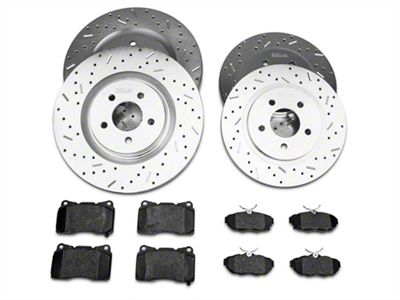 Xtreme Stop Precision Drilled & Slotted Rotor w/ Ceramic Brake Pad Kit - Front & Rear (11-14 GT Brembo; 12-13 BOSS 302; 07-12 GT500)