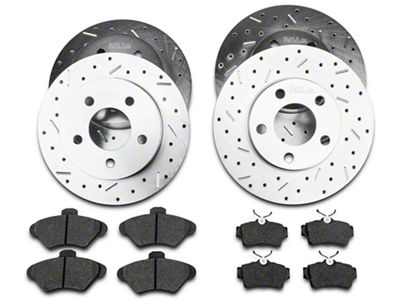 Xtreme Stop Precision Cross-Drilled & Slotted Rotor w/ Ceramic Brake Pad Kit - Front & Rear (94-98 GT, V6)