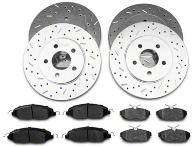 Xtreme Stop Precision Cross-Drilled & Slotted Rotor w/ Carbon Graphite Brake Pad Kit - Front & Rear (05-10 V6)