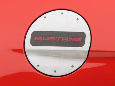 Defenderworx Fuel Door w/ Red Mustang Lettering - Brushed (15-19 All)