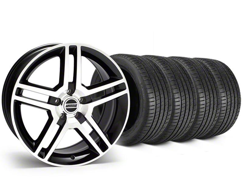 2010 GT500 Style Black Machined Wheel & Michelin Pilot Super Sport Tire Kit - 19x8.5 (15-19 GT, EcoBoost, V6)