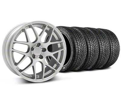Staggered AMR Silver Wheel & BF Goodrich G-FORCE COMP 2 Tire Kit - 19x8.5/11 (05-14 All)
