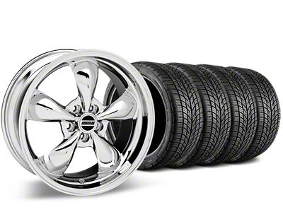 Staggered Bullitt Chrome Wheel & BF Goodrich G-FORCE COMP 2 Tire Kit - 19x8.5/10 (05-14 Standard GT, V6)
