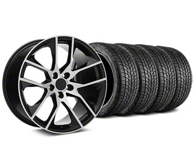 Staggered Magnetic Style Black Machined Wheel & BF Goodrich G-FORCE COMP 2 Tire Kit - 19x8.5/10 (05-14 All)