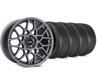 Staggered 2013 GT500 Style Charcoal Wheel & Michelin Pilot Super Sport Tire Kit - 19 in. - 2 Rear Options (05-14 All)