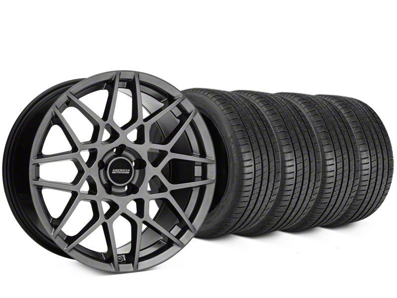 Staggered 2013 GT500 Style Hyper Dark Wheel & Michelin Pilot Super Sport Tire Kit - 19 in. - 2 Rear Options (05-14 All)