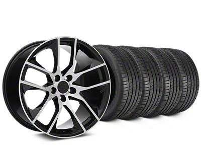Staggered Magnetic Style Black Machined Wheel & Michelin Pilot Super Sport Tire Kit - 19 in. - 2 Rear Options (05-14 All)