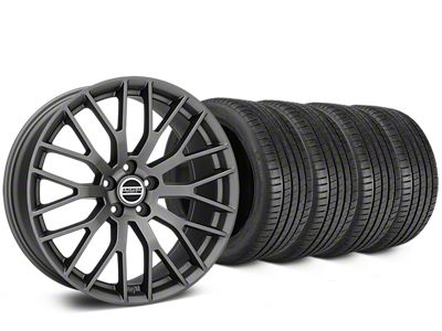 Staggered Performance Pack Style Charcoal Wheel & Michelin Pilot Super Sport Tire Kit - 19 in. - 2 Rear Options (05-14 All)